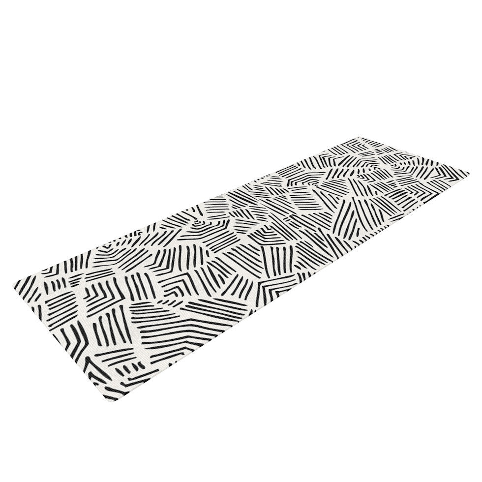 "Pom Graphic Design ""Inca Lines"" Black Illustration Yoga Mat - KESS InHouse  - 1"