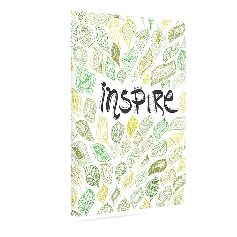 "Pom Graphic Design ""Inspire Nature"" Green Yellow Canvas Art - KESS InHouse  - 1"