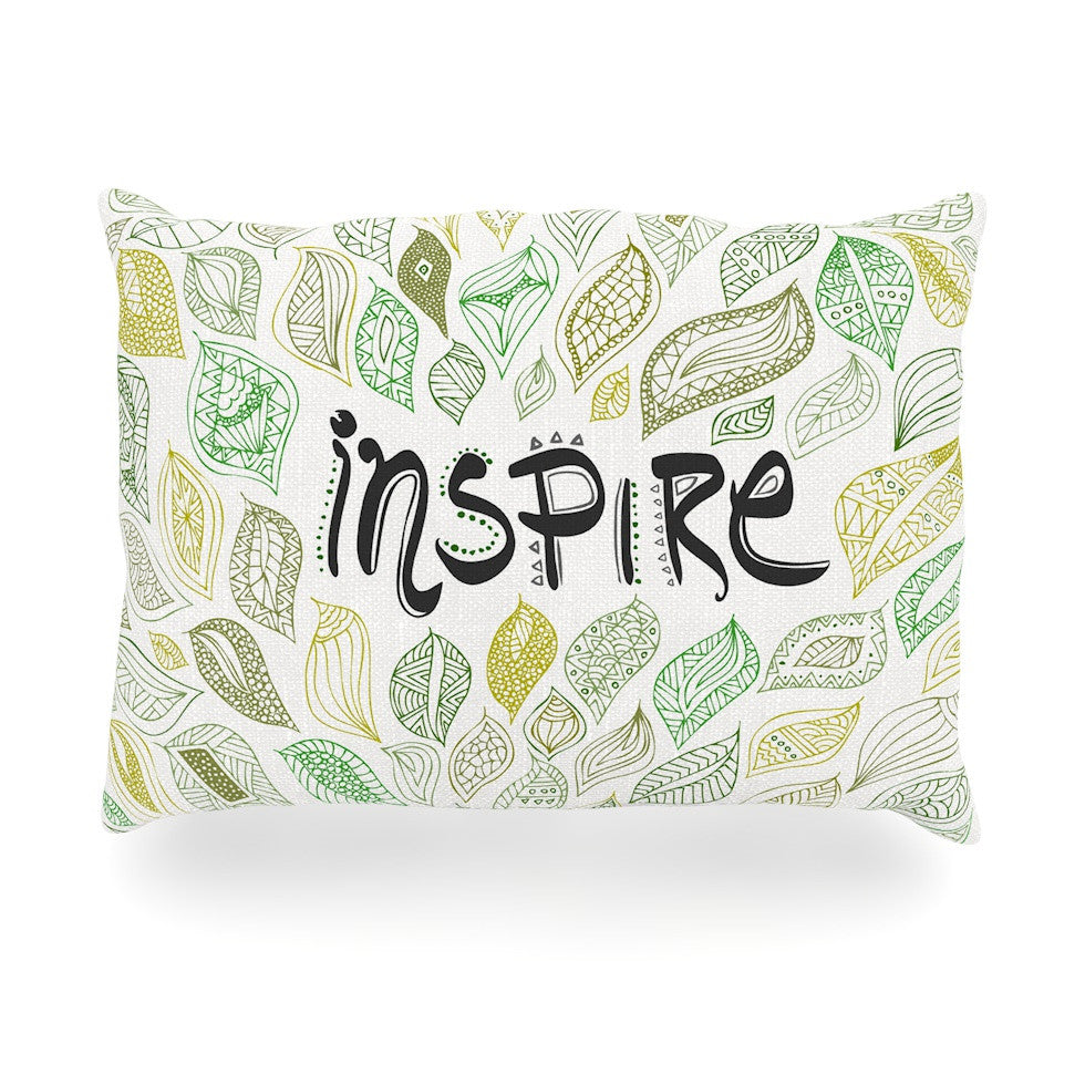 "Pom Graphic Design ""Inspire Nature"" Green Yellow Oblong Pillow - KESS InHouse"