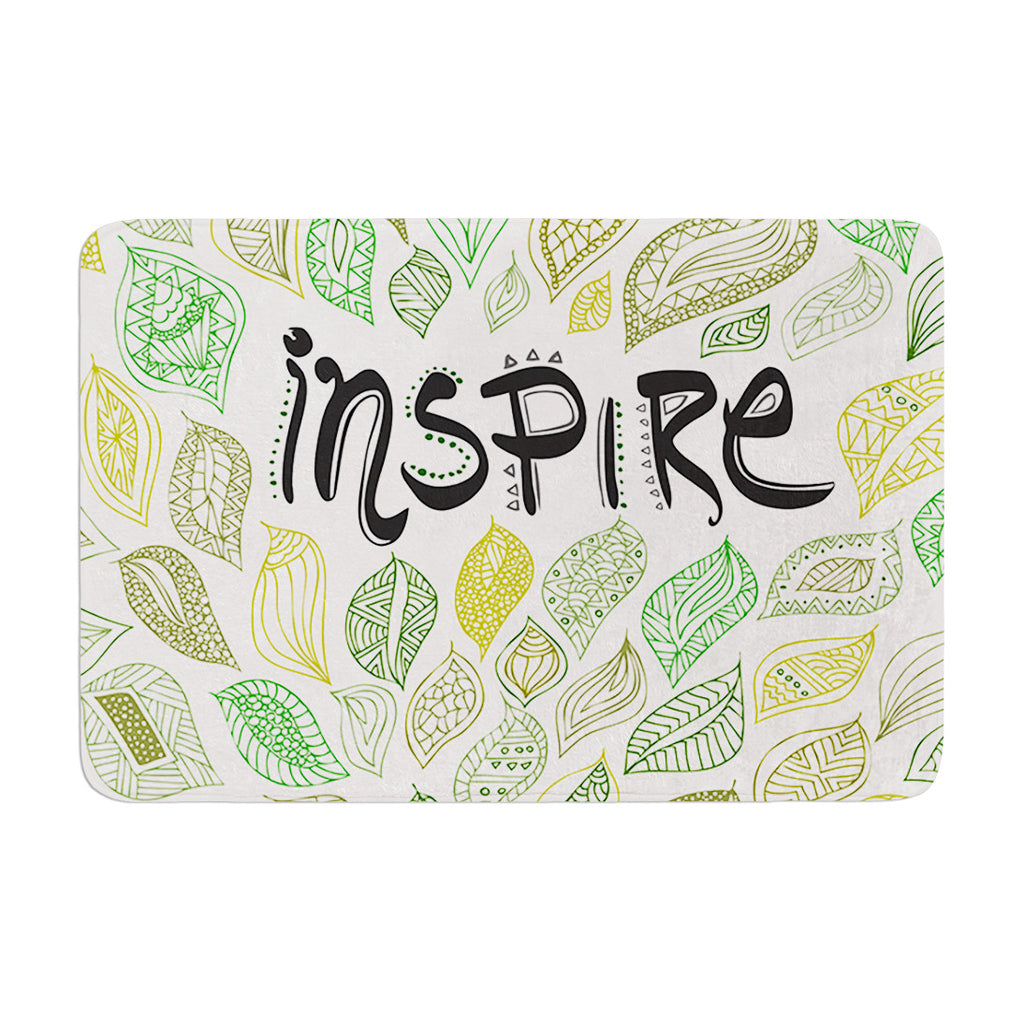 "Pom Graphic Design ""Inspire Nature"" Green Yellow Memory Foam Bath Mat - KESS InHouse"