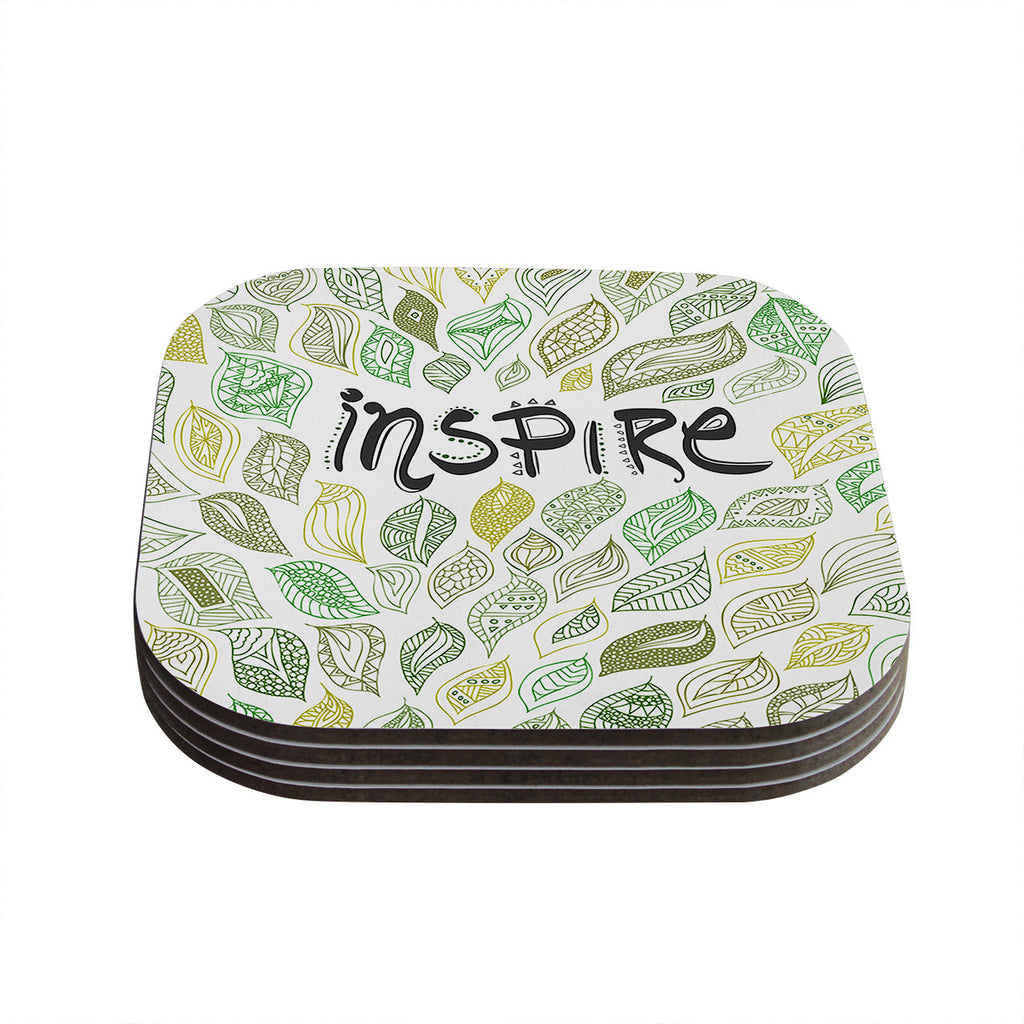 "Pom Graphic Design ""Inspire Nature"" Green Yellow Coasters (Set of 4)"