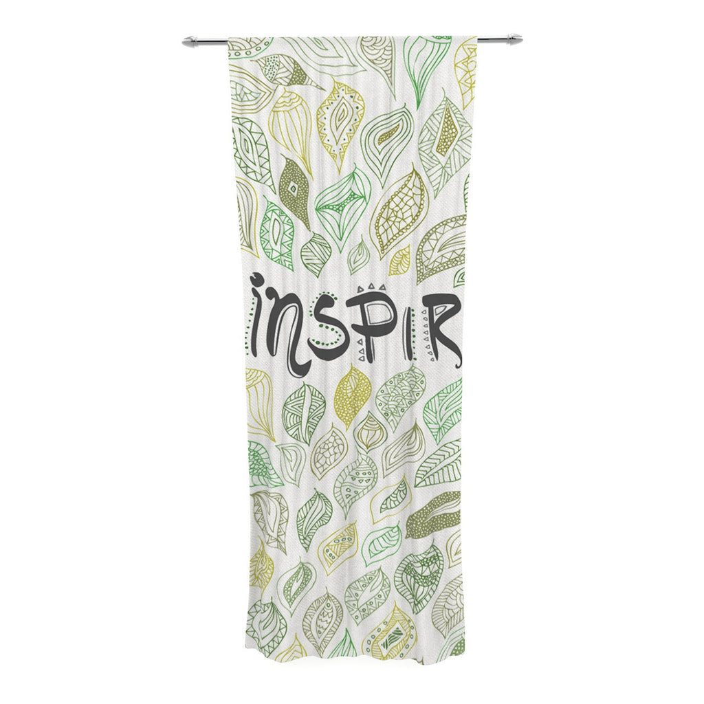 "Pom Graphic Design ""Inspire Nature"" Green Yellow Decorative Sheer Curtain - KESS InHouse  - 1"