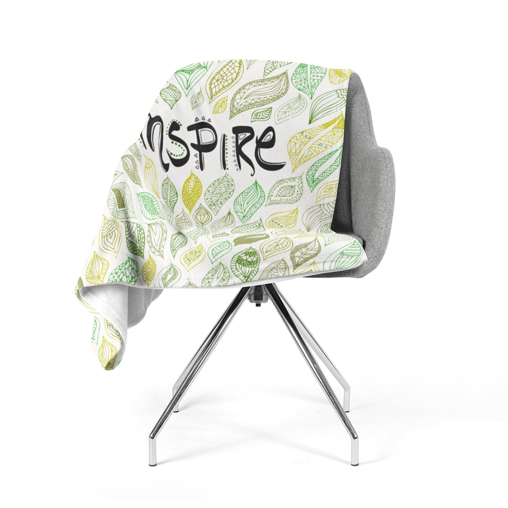 "Pom Graphic Design ""Inspire Nature"" Green Yellow Fleece Throw Blanket"