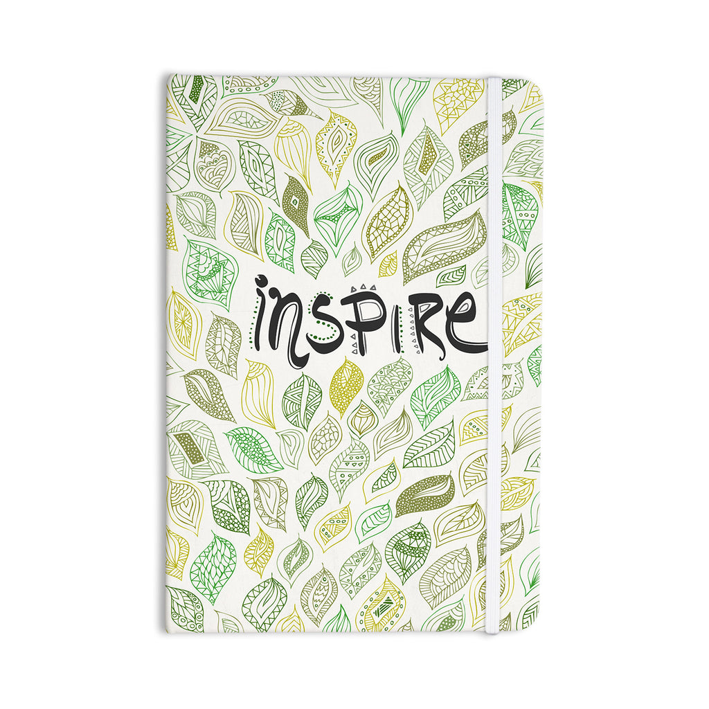 "Pom Graphic Design ""Inspire Nature"" Green Yellow Everything Notebook - KESS InHouse  - 1"