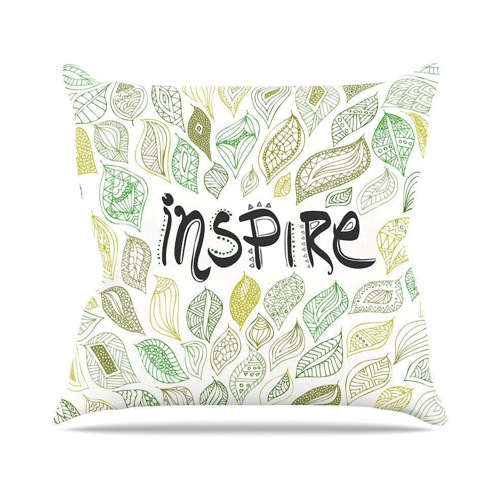 "Pom Graphic Design ""Inspire Nature"" Green Yellow Throw Pillow - KESS InHouse  - 1"