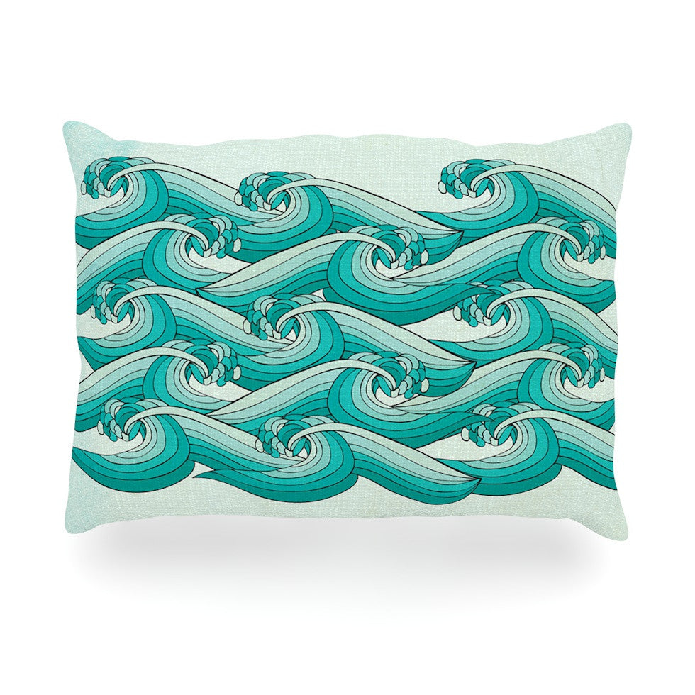 "Pom Graphic Design ""Ocean Retro Vibes"" Green Teal Oblong Pillow - KESS InHouse"
