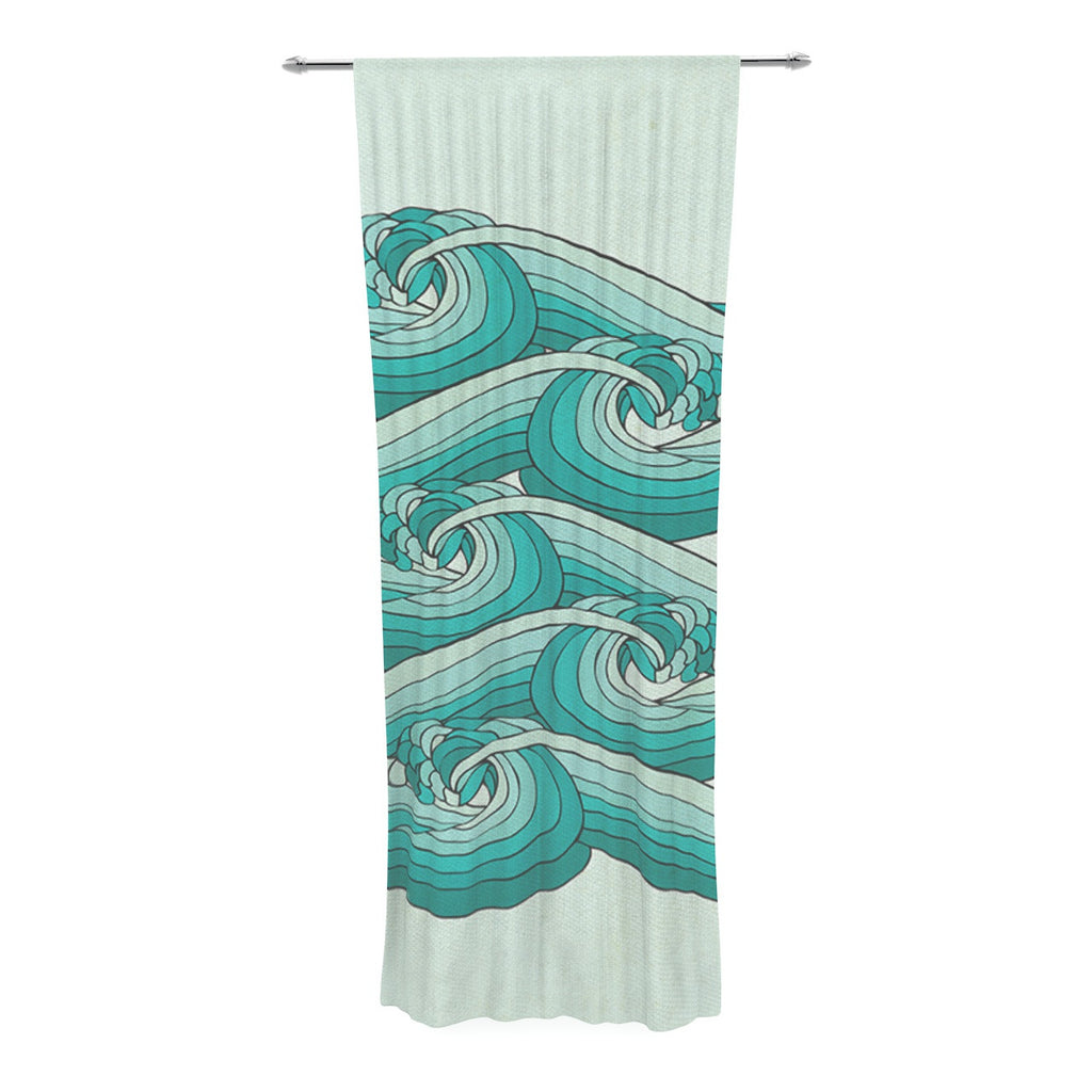 "Pom Graphic Design ""Ocean Retro Vibes"" Green Teal Decorative Sheer Curtain - KESS InHouse  - 1"