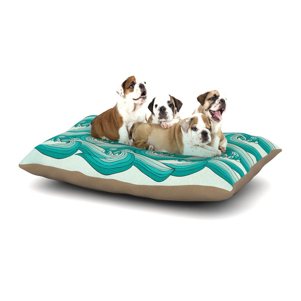 "Pom Graphic Design ""Ocean Retro Vibes"" Green Teal Dog Bed - KESS InHouse  - 1"