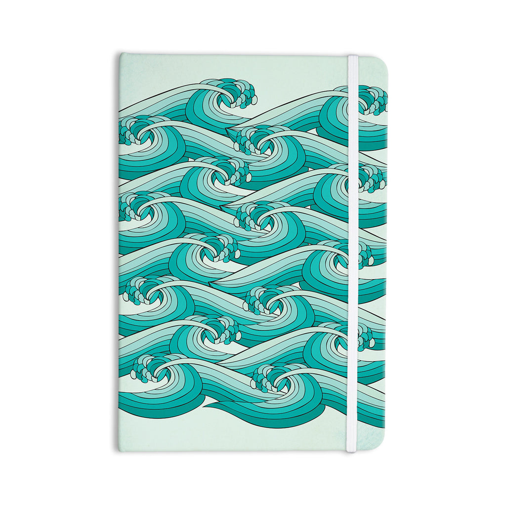 "Pom Graphic Design ""Ocean Retro Vibes"" Green Teal Everything Notebook - KESS InHouse  - 1"
