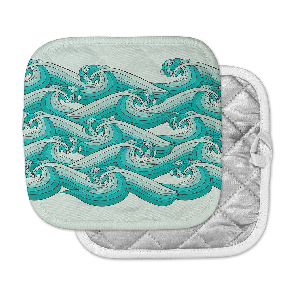 "Pom Graphic Design ""Ocean Retro Vibes"" Green Teal Pot Holder"