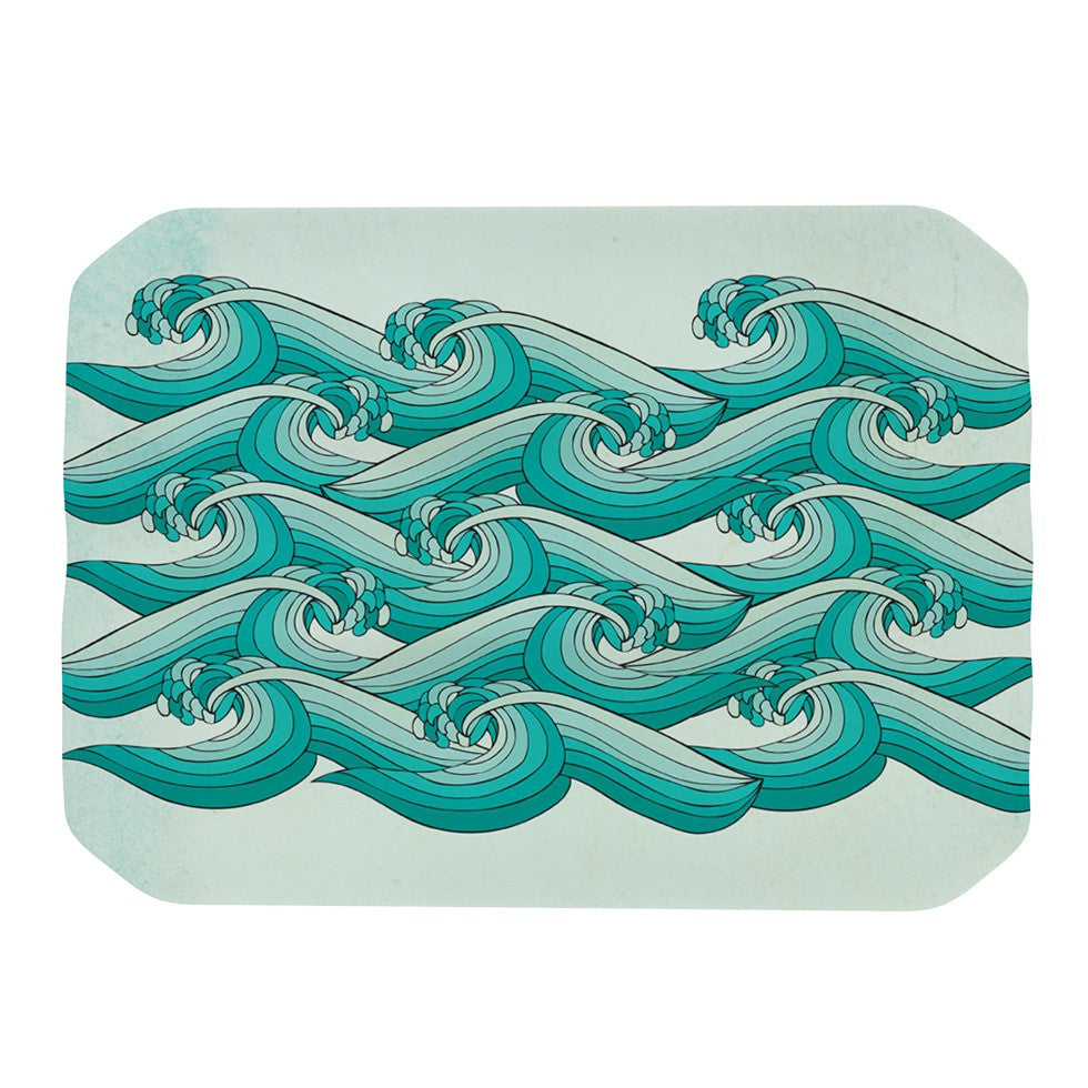 "Pom Graphic Design ""Ocean Retro Vibes"" Green Teal Place Mat - KESS InHouse"