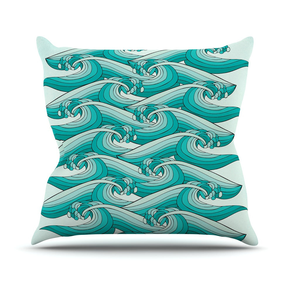 "Pom Graphic Design ""Ocean Retro Vibes"" Green Teal Throw Pillow - KESS InHouse  - 1"