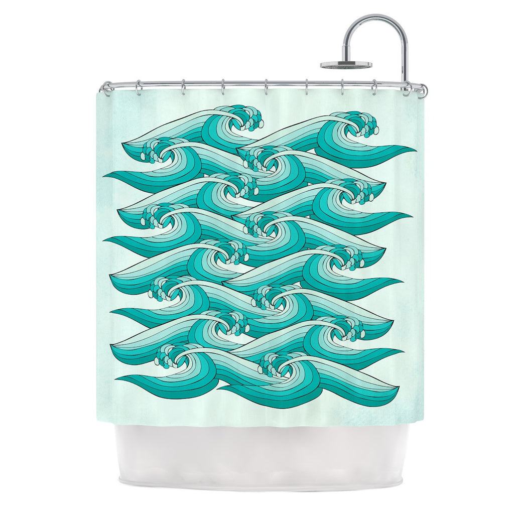 "Pom Graphic Design ""Ocean Retro Vibes"" Green Teal Shower Curtain - KESS InHouse"