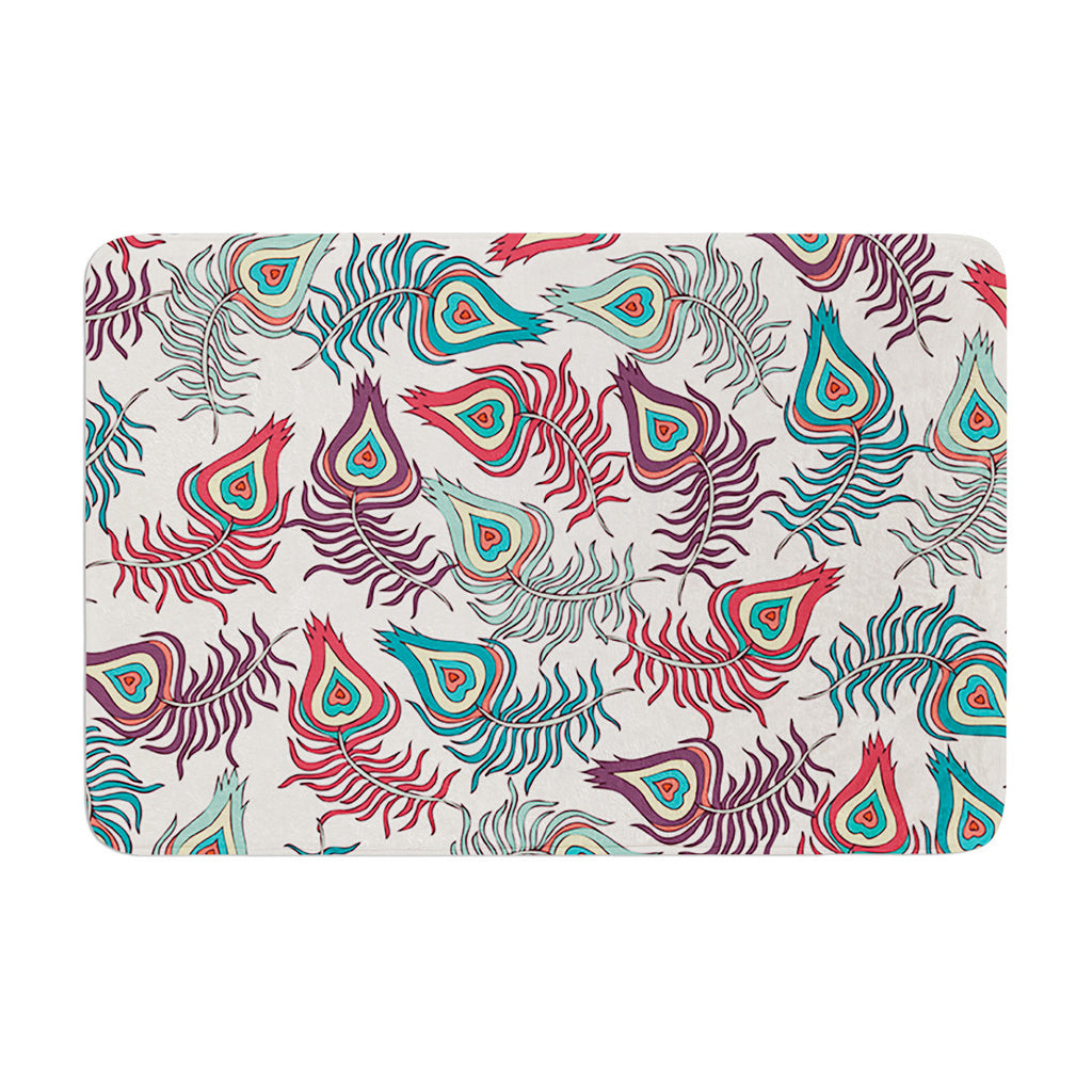 "Pom Graphic Design ""Peacock Feathers"" Multicolor Pattern Memory Foam Bath Mat - KESS InHouse"