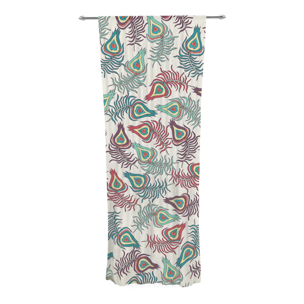 "Pom Graphic Design ""Peacock Feathers"" Multicolor Pattern Decorative Sheer Curtain - KESS InHouse  - 1"