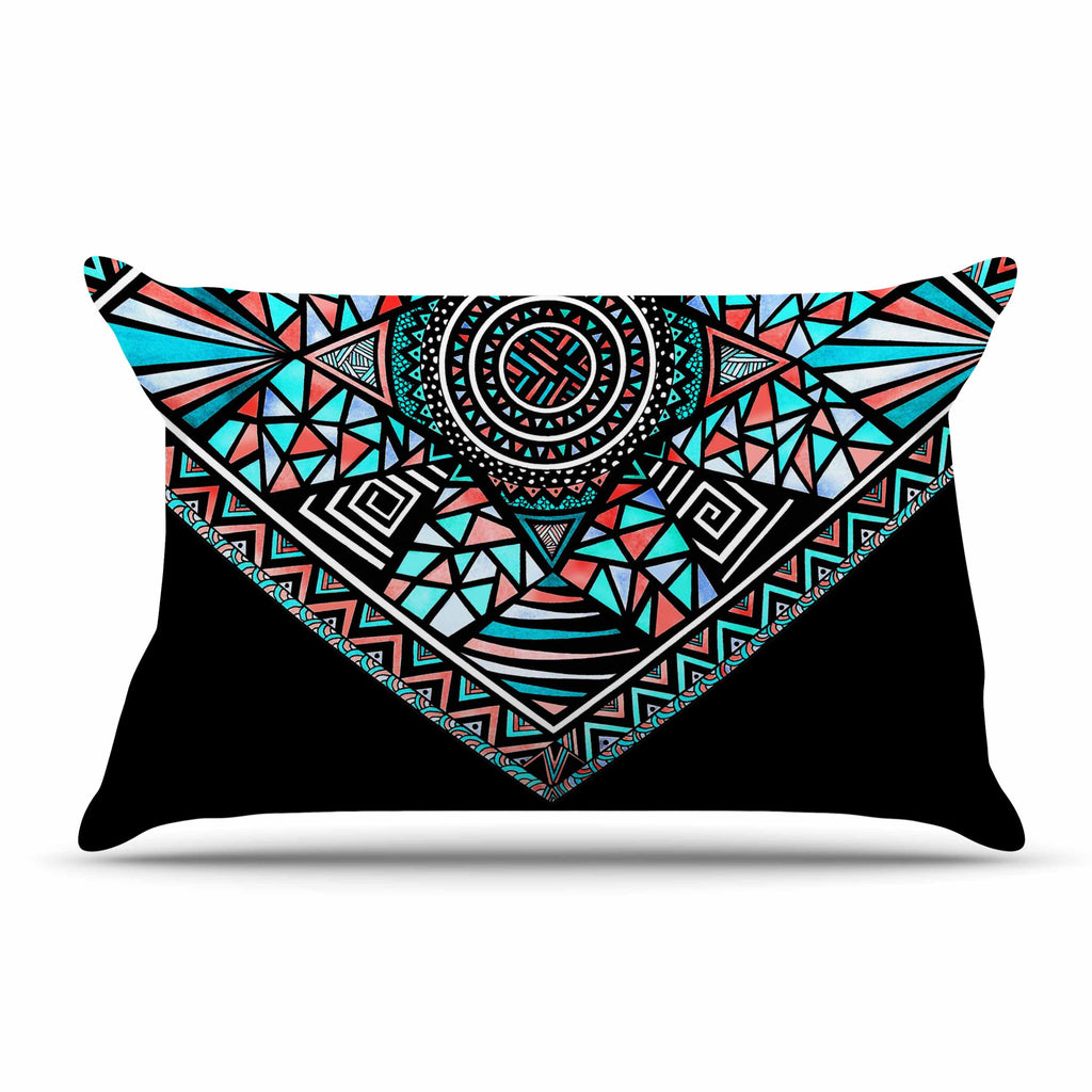 "Pom Graphic Design ""Peacock Feathers"" Multicolor Pattern Pillow Sham - KESS InHouse"