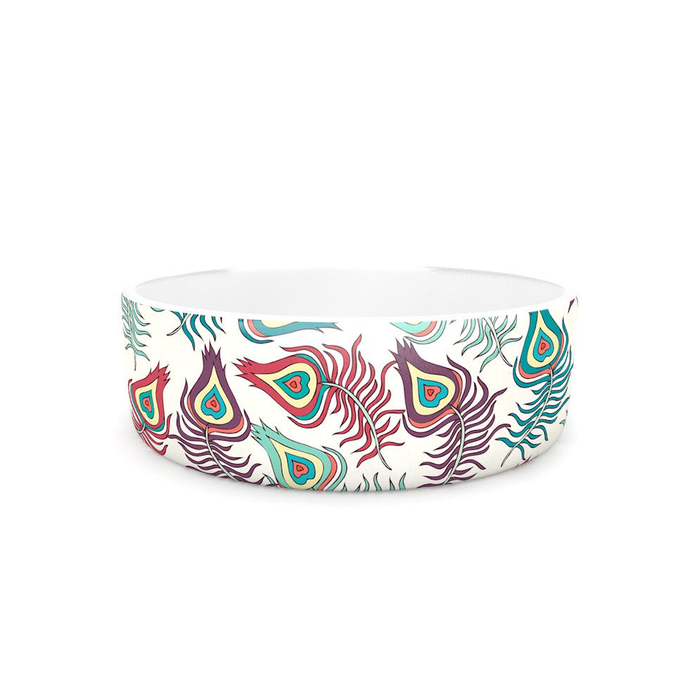"Pom Graphic Design ""Peacock Feathers"" Multicolor Pattern Pet Bowl - KESS InHouse"