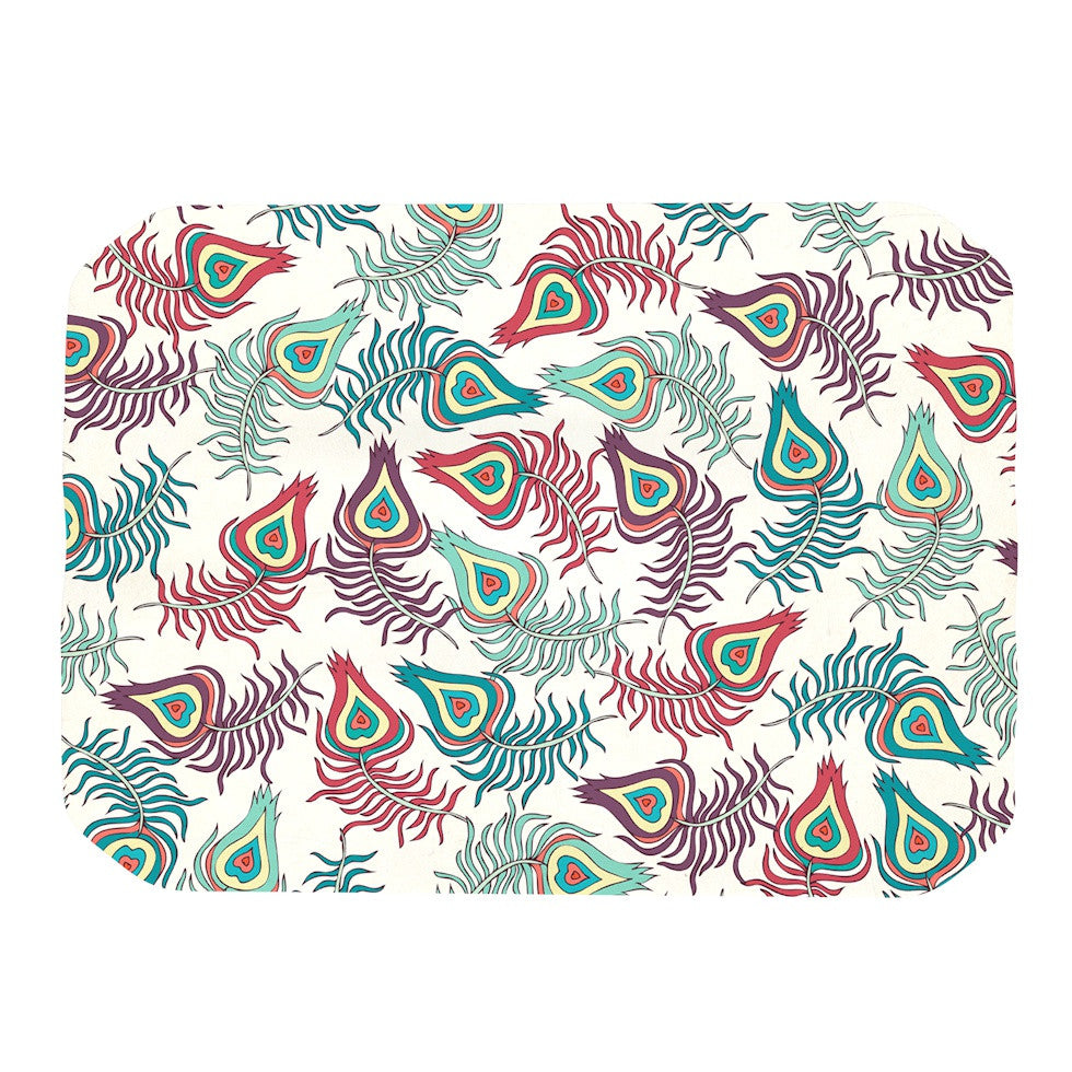 "Pom Graphic Design ""Peacock Feathers"" Multicolor Pattern Place Mat - KESS InHouse"