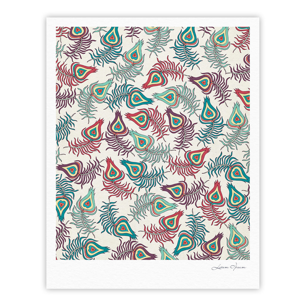 "Pom Graphic Design ""Peacock Feathers"" Multicolor Pattern Fine Art Gallery Print - KESS InHouse"