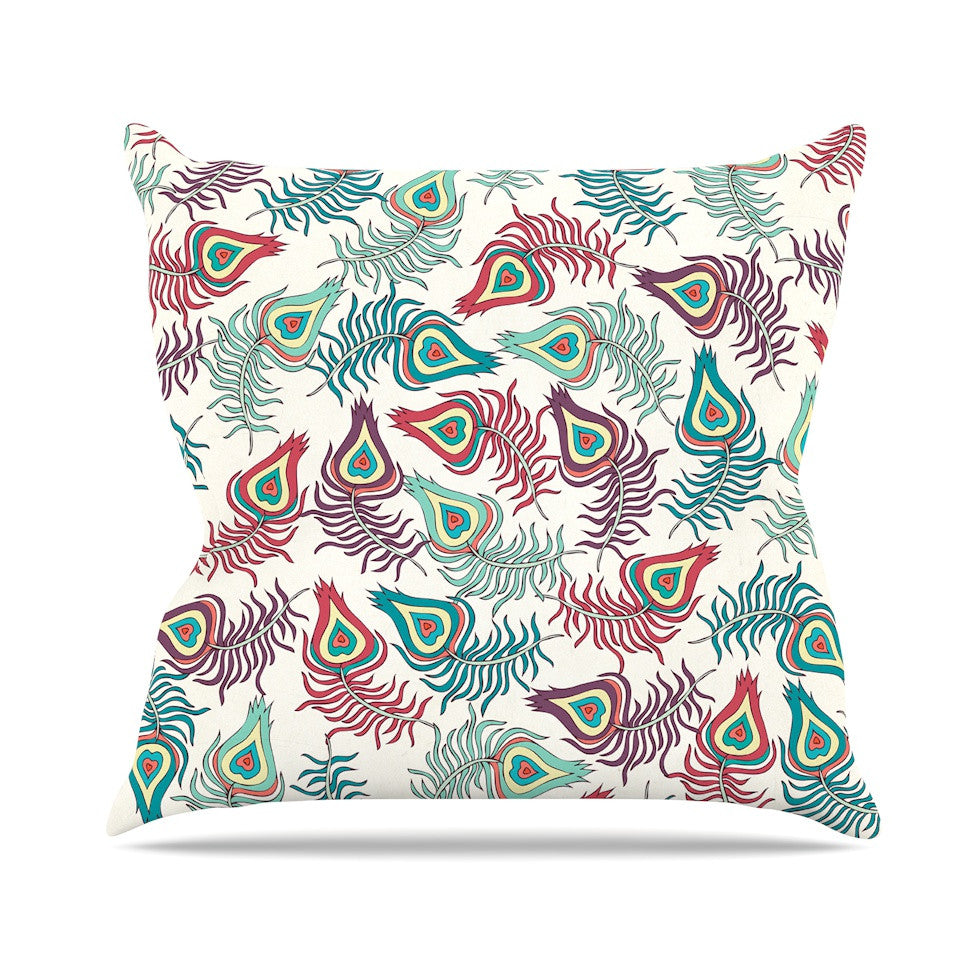 "Pom Graphic Design ""Peacock Feathers"" Multicolor Pattern Throw Pillow - KESS InHouse  - 1"