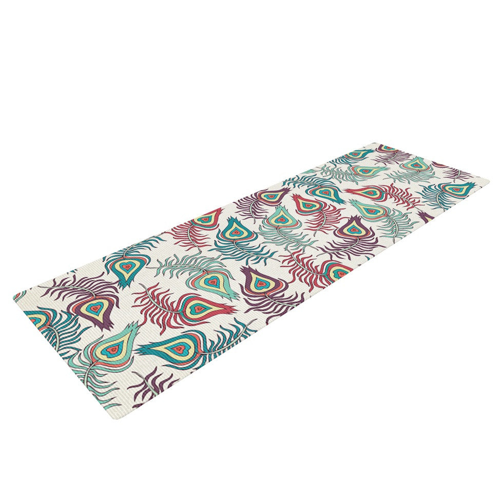 "Pom Graphic Design ""Peacock Feathers"" Multicolor Pattern Yoga Mat - KESS InHouse  - 1"