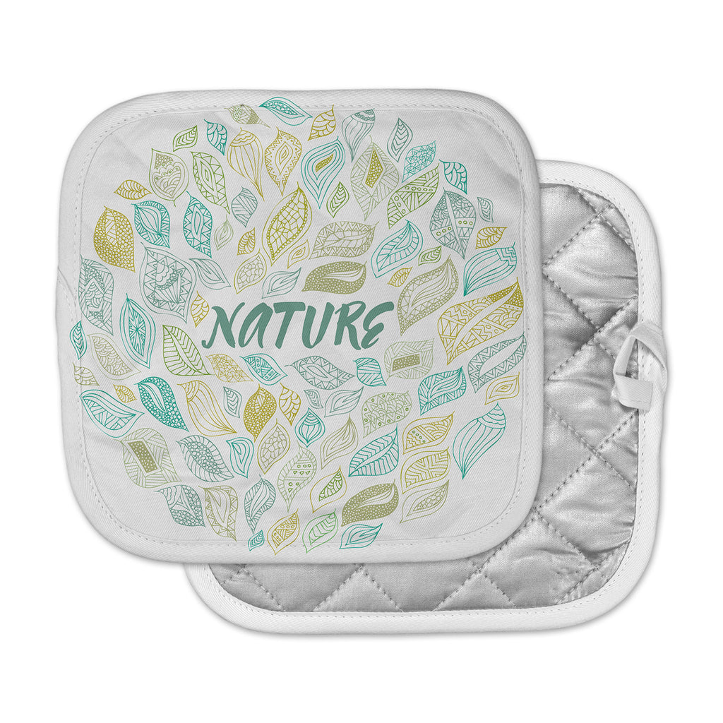 "Pom Graphic Design ""Nature Earth"" White Teal Pot Holder"