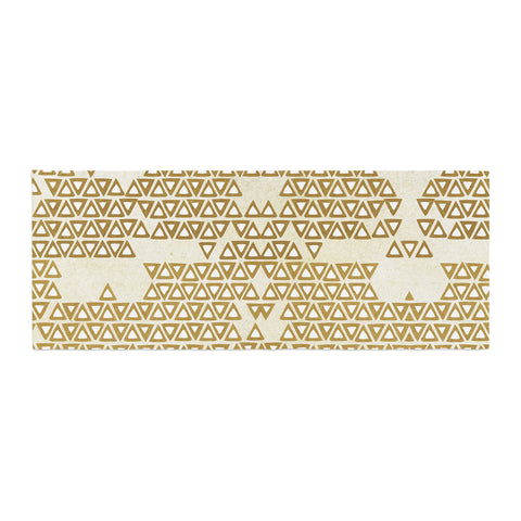 "Pom Graphic Design ""Mint & Gold Empire"" Yellow Geometric Bed Runner - KESS InHouse"