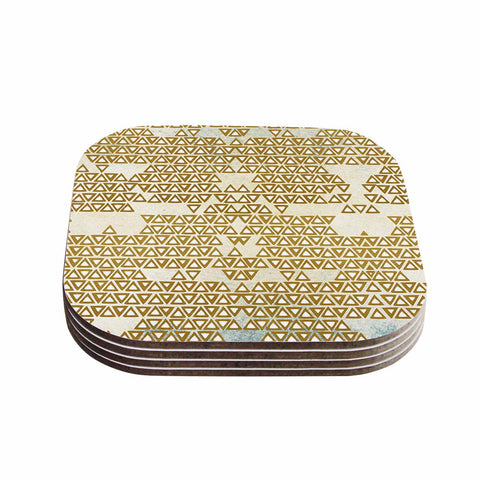 "Pom Graphic Design ""Mint & Gold Empire"" Yellow Geometric Coasters (Set of 4)"