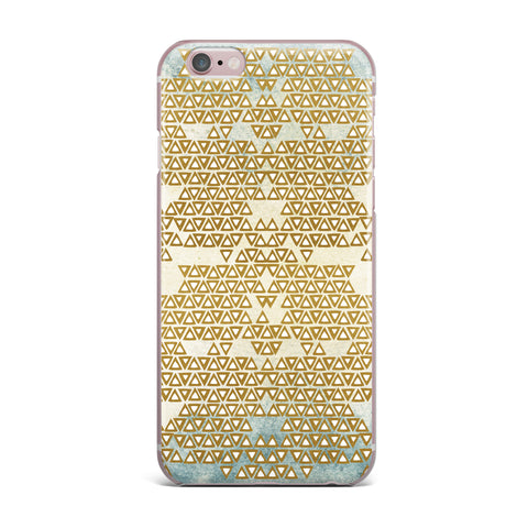 "Pom Graphic Design ""Mint & Gold Empire"" Yellow Geometric iPhone Case - KESS InHouse"