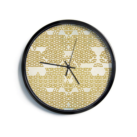 "Pom Graphic Design ""Mint & Gold Empire"" Yellow Geometric Modern Wall Clock"