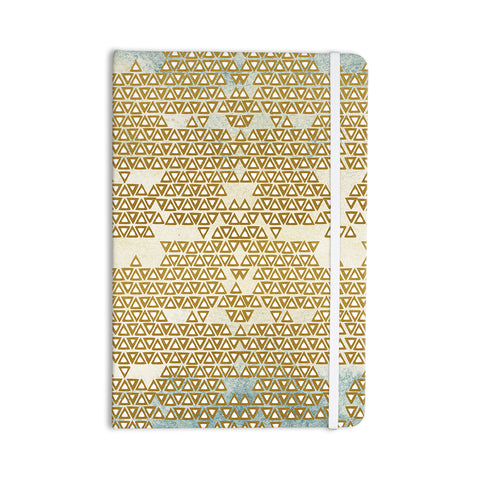 "Pom Graphic Design ""Mint & Gold Empire"" Yellow Geometric Everything Notebook - KESS InHouse  - 1"