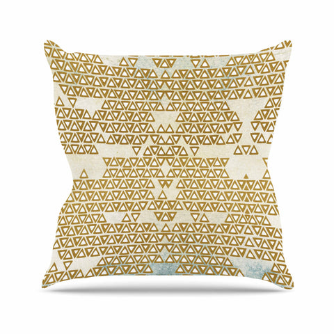 "Pom Graphic Design ""Mint & Gold Empire"" Yellow Geometric Outdoor Throw Pillow - KESS InHouse  - 1"