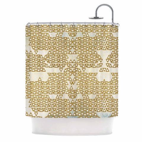 "Pom Graphic Design ""Mint & Gold Empire"" Yellow Geometric Shower Curtain - KESS InHouse"