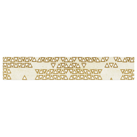 "Pom Graphic Design ""Mint & Gold Empire"" Yellow Geometric Table Runner - KESS InHouse  - 1"