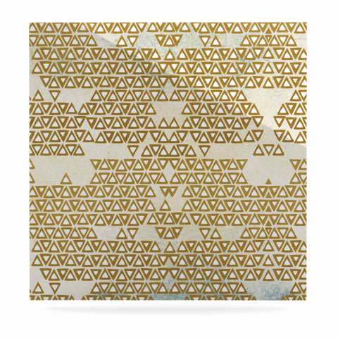 "Pom Graphic Design ""Mint & Gold Empire"" Yellow Geometric Luxe Square Panel - KESS InHouse  - 1"