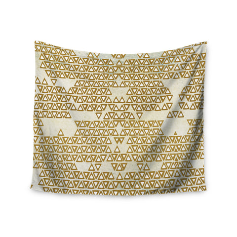 "Pom Graphic Design ""Mint & Gold Empire"" Yellow Geometric Wall Tapestry - KESS InHouse  - 1"