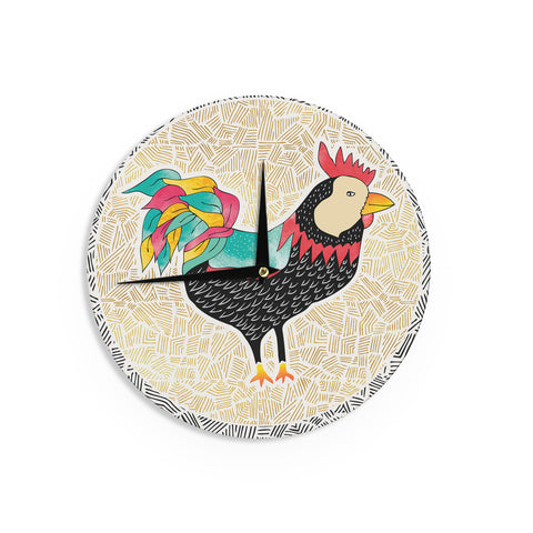 "Pom Graphic Design ""Cuckaroo Rooster"" Black Gold Wall Clock - Outlet Item"