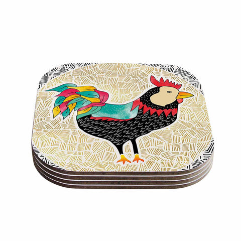 "Pom Graphic Design ""Cuckaroo Rooster"" Black Gold Coasters (Set of 4)"
