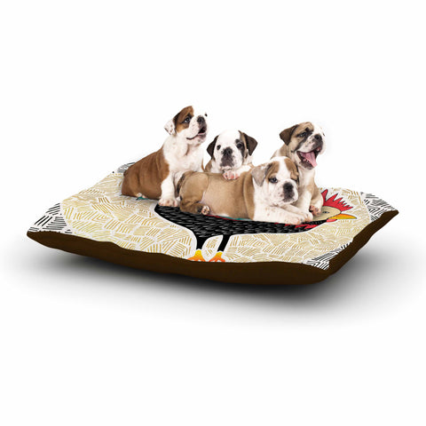 "Pom Graphic Design ""Cuckaroo Rooster"" Black Gold Dog Bed - KESS InHouse  - 1"