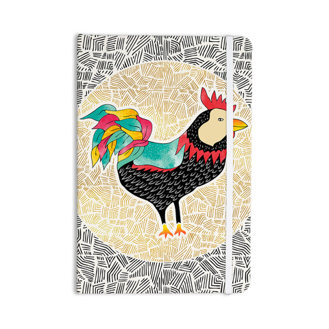 "Pom Graphic Design ""Cuckaroo Rooster"" Black Gold Everything Notebook - KESS InHouse  - 1"
