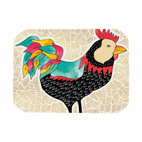 "Pom Graphic Design ""Cuckaroo Rooster"" Black Gold Place Mat - KESS InHouse"