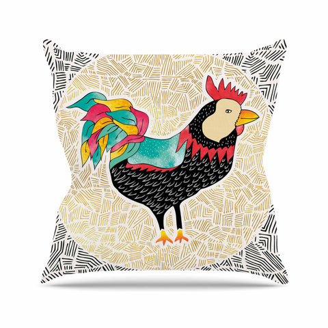 "Pom Graphic Design ""Cuckaroo Rooster"" Black Gold Outdoor Throw Pillow - KESS InHouse  - 1"