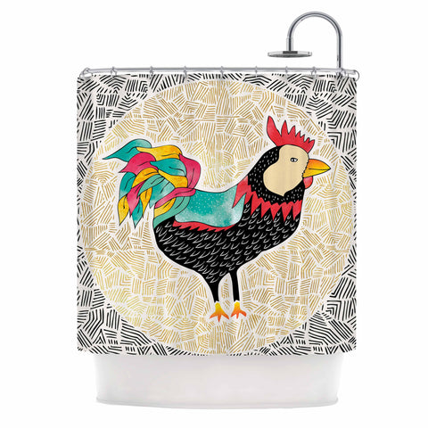 "Pom Graphic Design ""Cuckaroo Rooster"" Black Gold Shower Curtain - KESS InHouse"