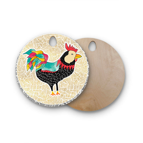 "Pom Graphic Design ""Cuckaroo Rooster"" Black Gold Round Wooden Cutting Board"