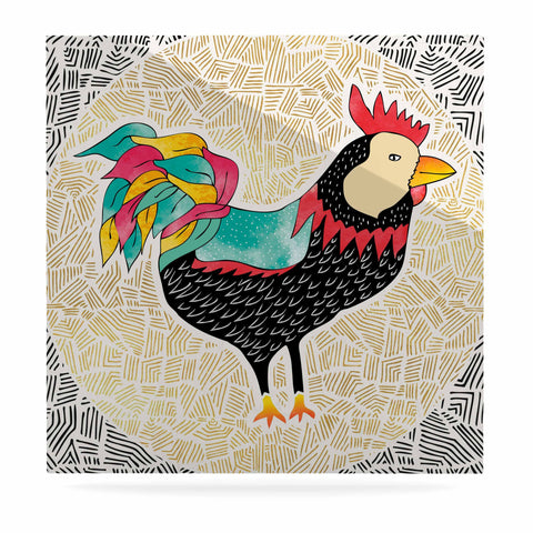 "Pom Graphic Design ""Cuckaroo Rooster"" Black Gold Luxe Square Panel - KESS InHouse  - 1"