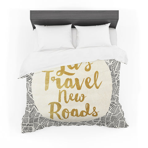 "Pom Graphic Design ""Let's Travel New Roads"" Gold Black Featherweight Duvet Cover - Outlet Item"