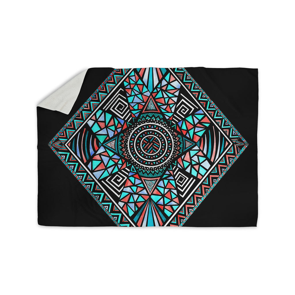 "Pom Graphic Design ""Geo Glass"" Teal Black Sherpa Blanket - KESS InHouse  - 1"