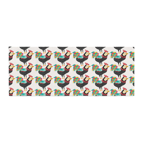 "Pom Graphic Design ""The Rooster Squad"" Black Pattern Bed Runner - KESS InHouse"