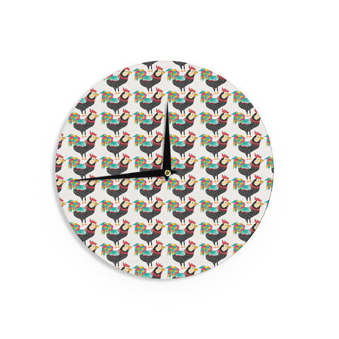 "Pom Graphic Design ""The Rooster Squad"" Black Pattern Wall Clock - KESS InHouse"