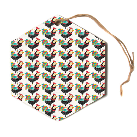 "Pom Graphic Design ""The Rooster Squad"" Black Pattern Hexagon Holiday Ornament"